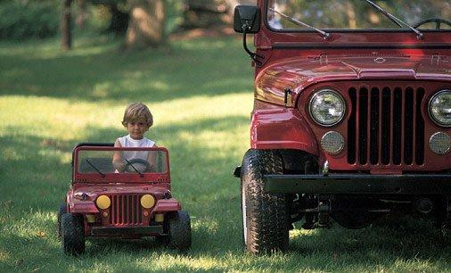 Мальчик в игрушечном авто