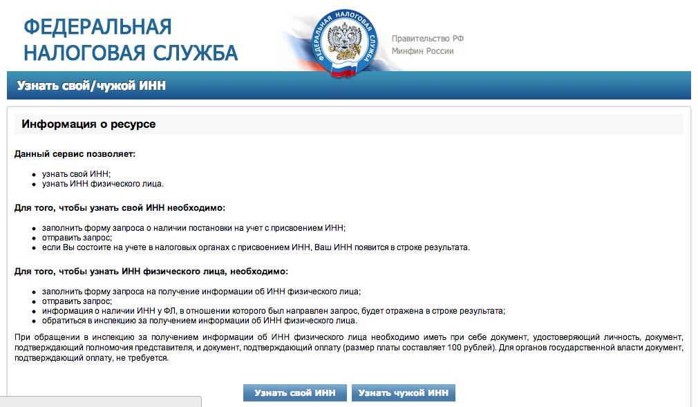 Интерфейс сайта ФНС