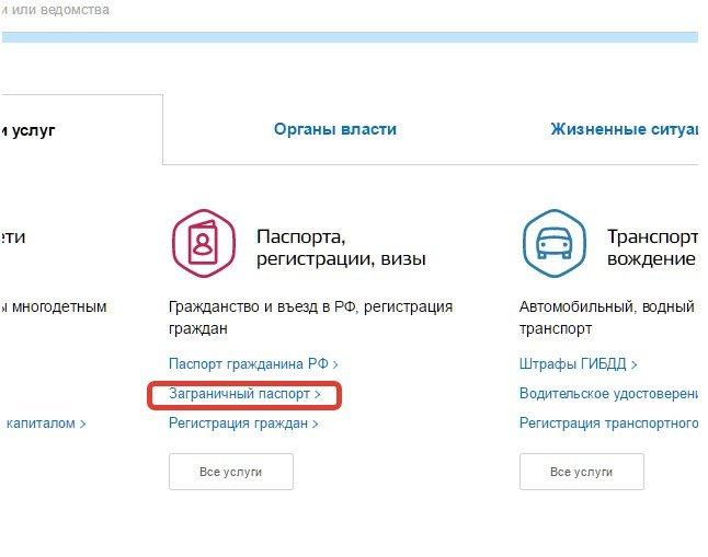 """Вкладка """"Заграничный паспорт"""" на сайте Госуслуг"""