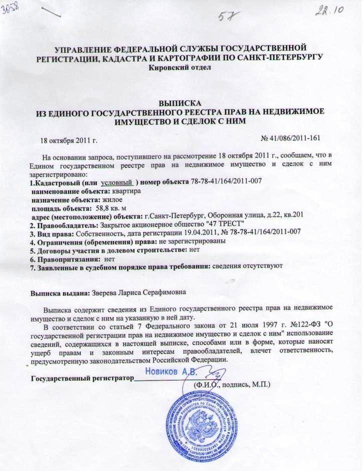 Выписка из ЕГРП юридического лица